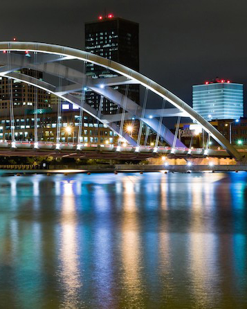 City of Rochester Bridge at night
